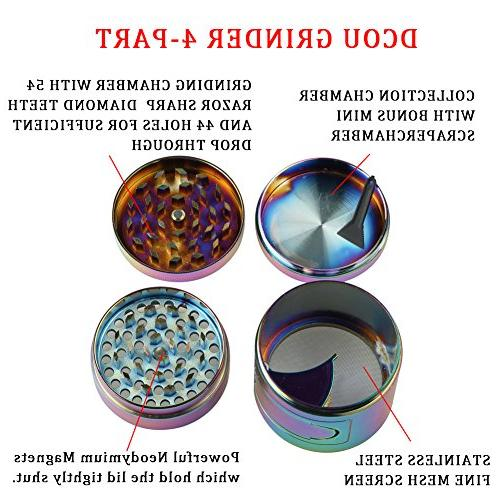 DCOU New Herb Inches 4 Piece Grinder Pollen Catcher Alloy Herb and Easy