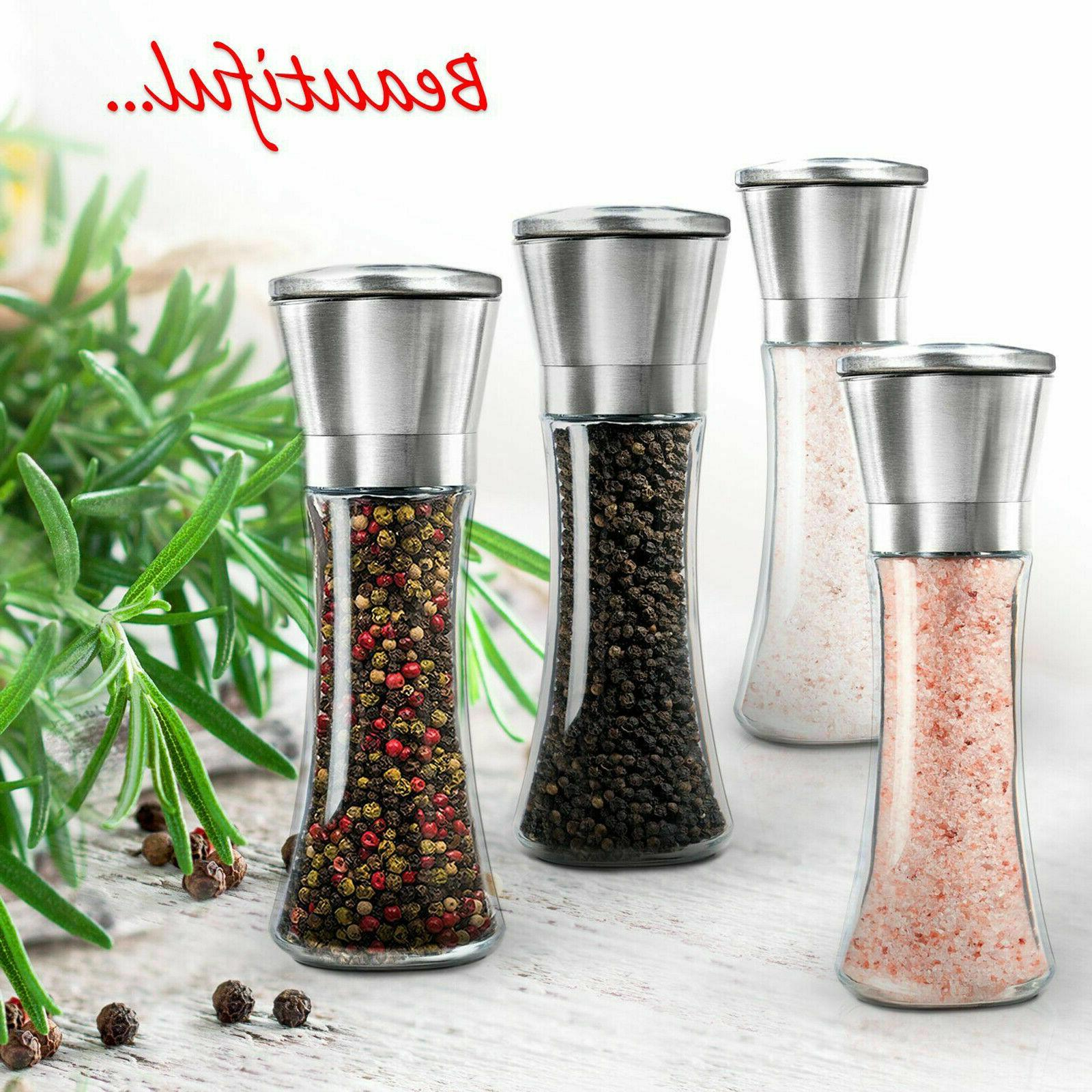 SALT and PEPPER GRINDER Set Mills Steel NEW