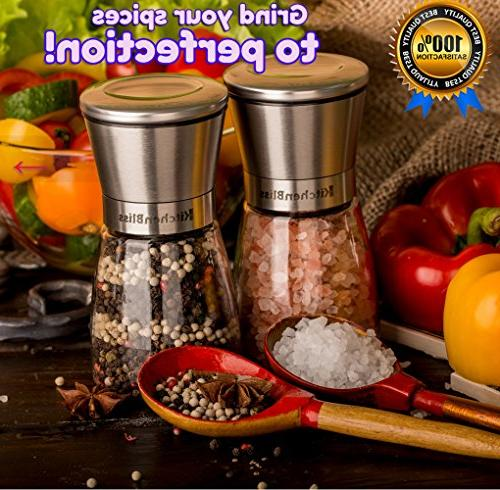 Professional Stainless Steel and Pepper Shakers with Ceramic Spice Grinder Adjustable Coarseness - Free Bonus.
