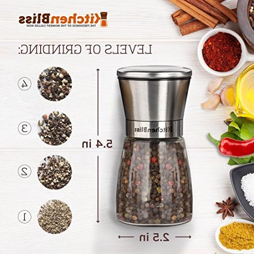 Grinder Stainless Pepper Shakers with Ceramic Spice Adjustable