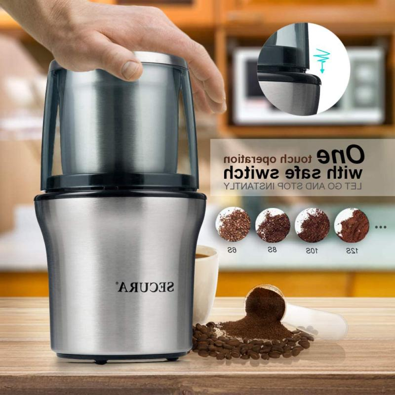 Secura Coffee Grinder And Spice Grinder 2 Stainless Steel