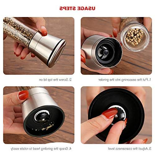 Professional Stainless Salt and with Stand Manual Spice Adjustable with Grinding Level Pepper Mill Grinders with Funnel