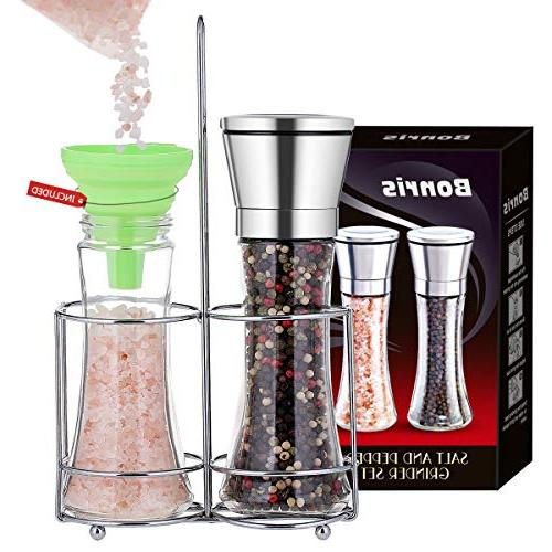 Professional and Grinder with Adjustable Grinding Pepper Grinders Shakers with Funnel