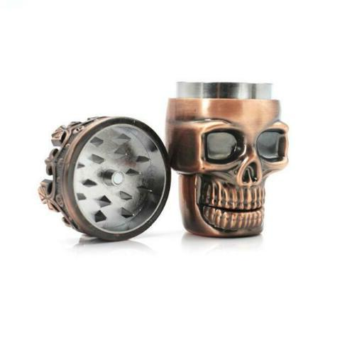 Skull Tobacco Spice Alloy Smoking Crusher Brass