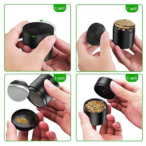 iRainy Herb Grinder with 2.1 Inch, Black