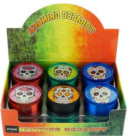 "2"" 4-Piece Candy Skull Tobacco Herb Spice Grinder Mixed Col"