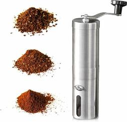 Manual Coffee Grinder Conical Burr Mill Brushed Stainless St
