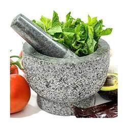 Mortar and Pestle Set In Solid Unpolished Heavy Granite Ston