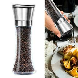 Salt and Pepper Grinders Shakers Set Spice Mill Glass Stainl