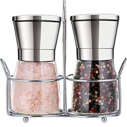 Premium Salt and Pepper Grinder Set with Stand Stainless Ste