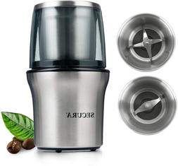 Secura Electric Coffee Grinder And Spice Grinder With 2 Stai