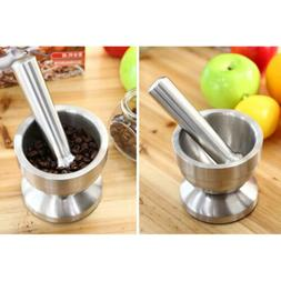 Stainless Metal Mortar & Pestle Set Garlic Spice Herb Medici