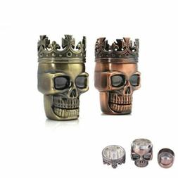 Tobacco Herb Spice Grinder King Skeleton Skull Crusher Brass