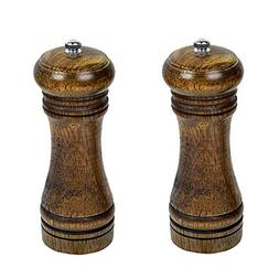 Agile-Shop 2 Pcs Natural Wood Kitchen Manual Pepper Mill Sal