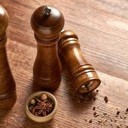 Home Kitchen Wood Manual Salt Pepper Herb Spice Mill Ceramic